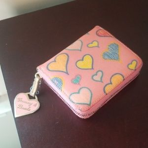 Dooney and bourke pink heart wallet small